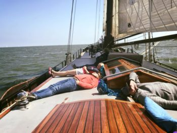 Relax during a sailing holiday on the Wadden Sea aboard the antique sailing ship the Lotus.