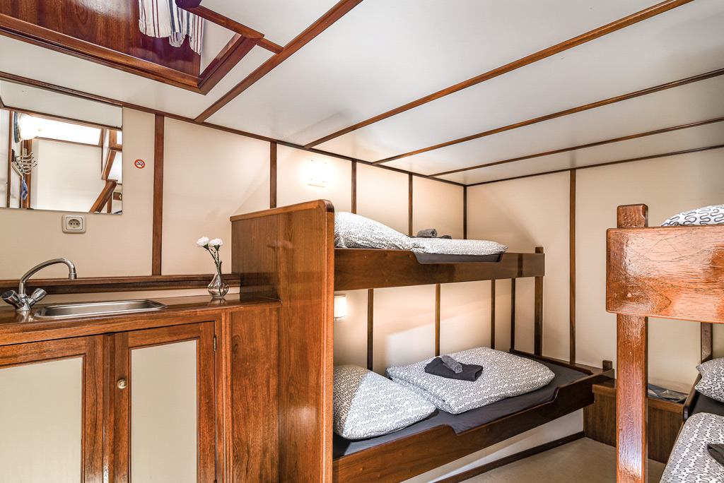 Interior pictures of antique sailing ship the Waterwolf, family cabin