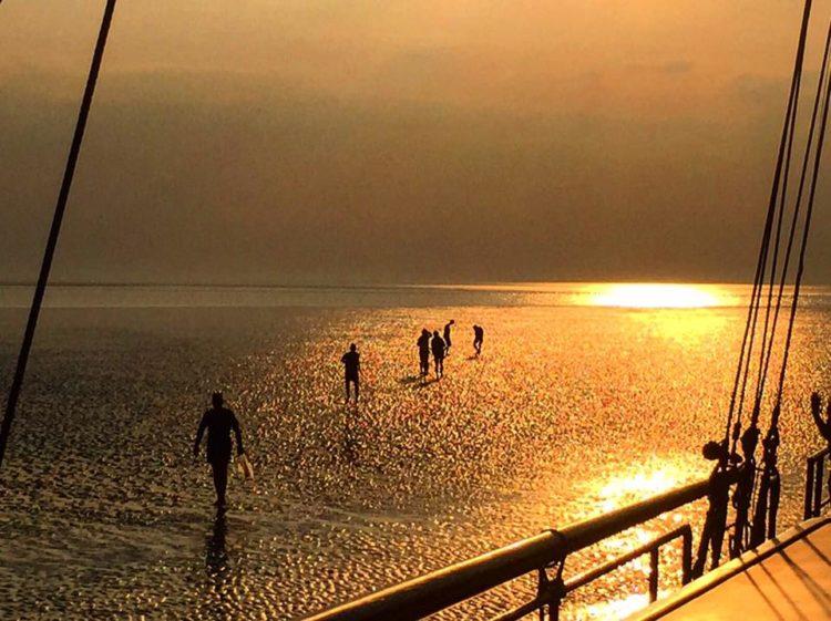 Wadlopen in de zonsondergang