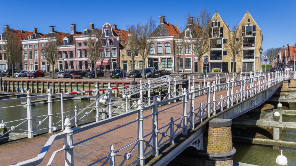 Bridge and houses in Harlingen