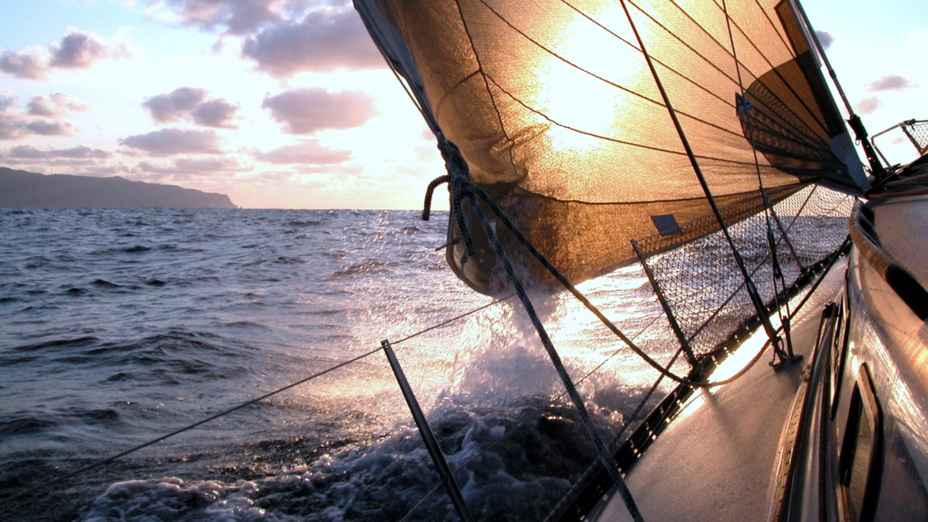 Sailing on open sea