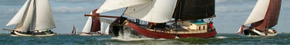 Een aantal traditionele platbodem scchepen tijdens een zeilwedstrijd op de Waddenzee