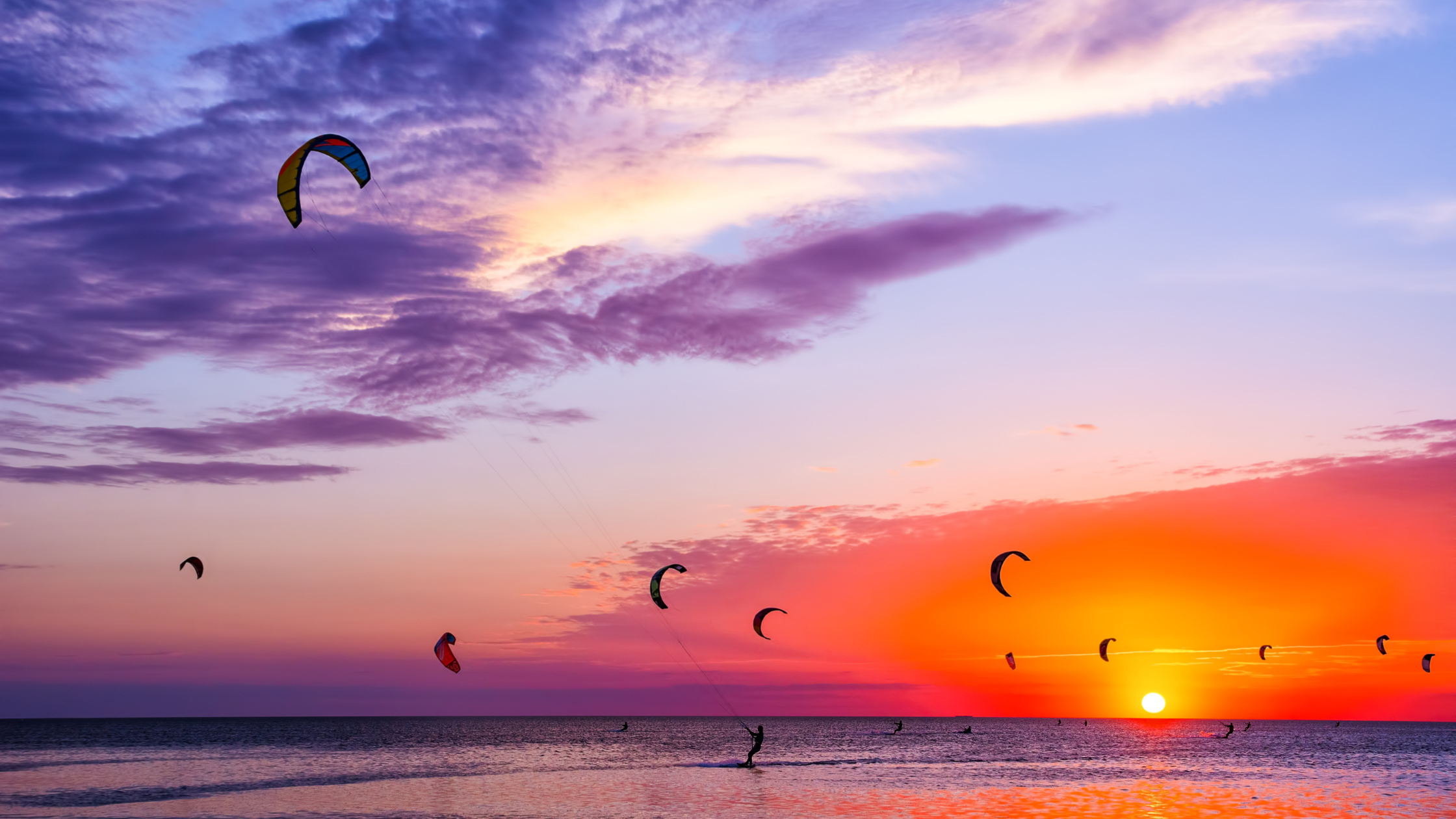 Kite surfing at sunset on Terschelling