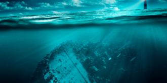Een van de vele scheepswrakken op de bodem van de Waddenzee rondom Texel