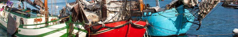 Traditional Dutch flat bottomed Tjalk ships