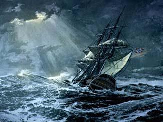 Het stormachtige weer en de zeegaten tussen de Waddeneilanden zorgde ervoor dat veel schepen zonken